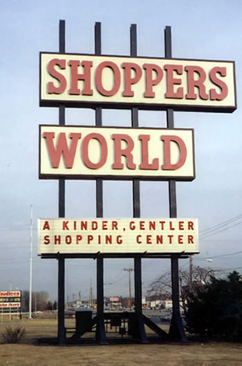 shoppers world sign