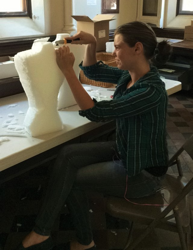 Colleen carving mannequins