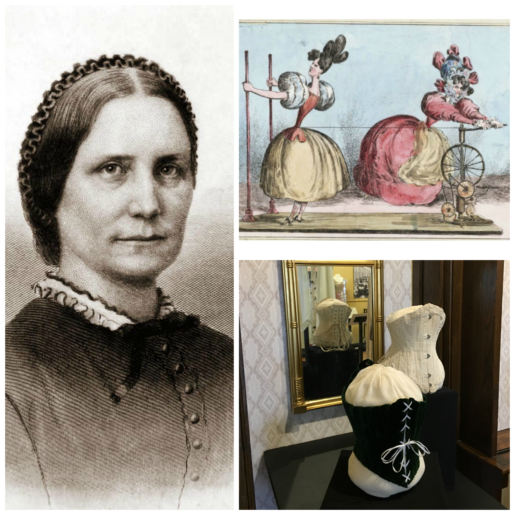 Image: (left) Mary Livermore, (top right) cartoon of the dramatic corseted waist, (bottom right) corsets on display at the Framingham History Center